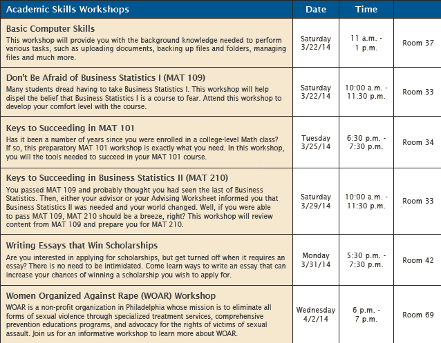 sharpen your academic business and personal development skills  during session 4 the walker center will cover everything from computer skills to essay writing and math take a look at the schedule below for a