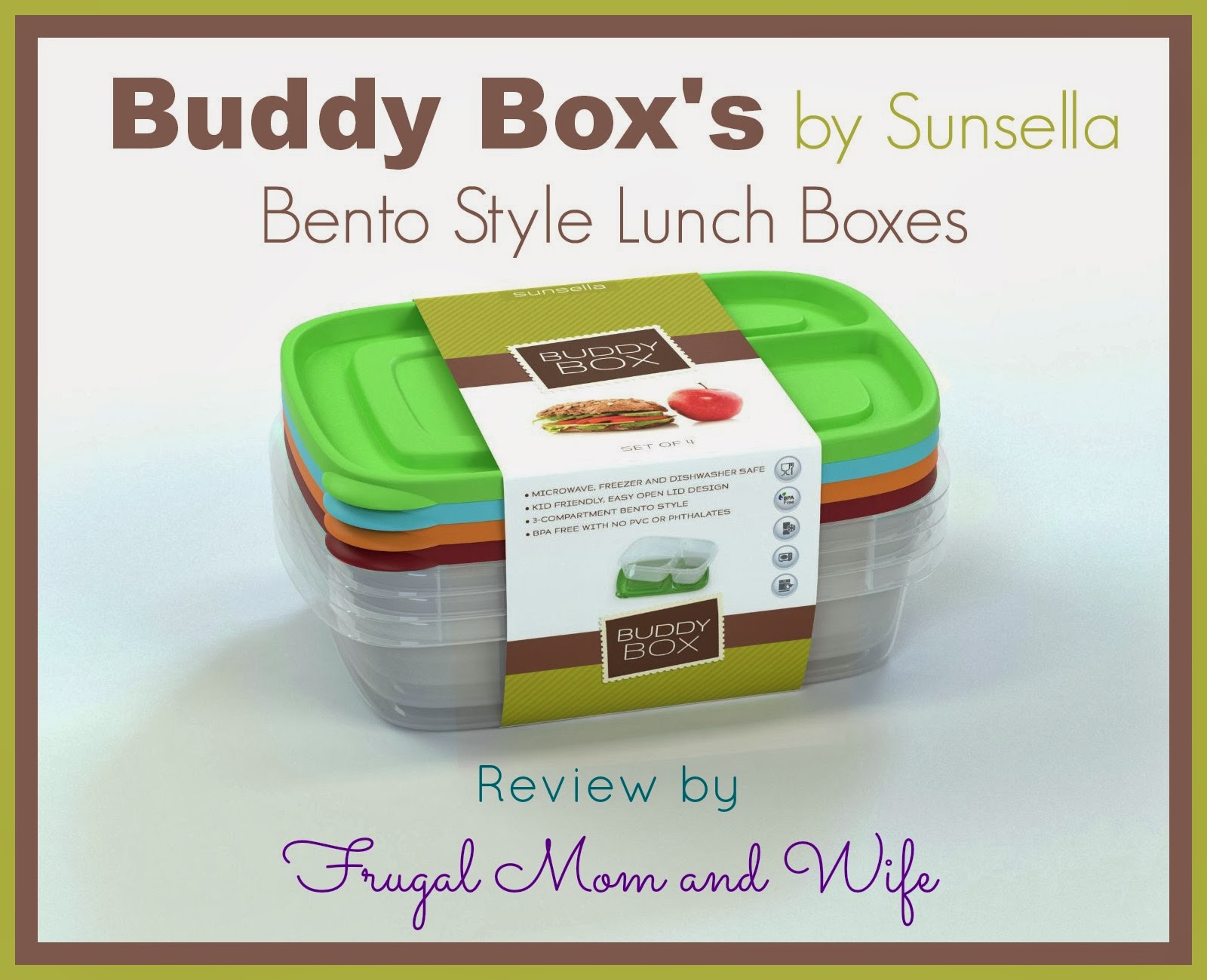 frugal mom and wife buddy box 39 s by sunsella bento style lunch boxes review. Black Bedroom Furniture Sets. Home Design Ideas