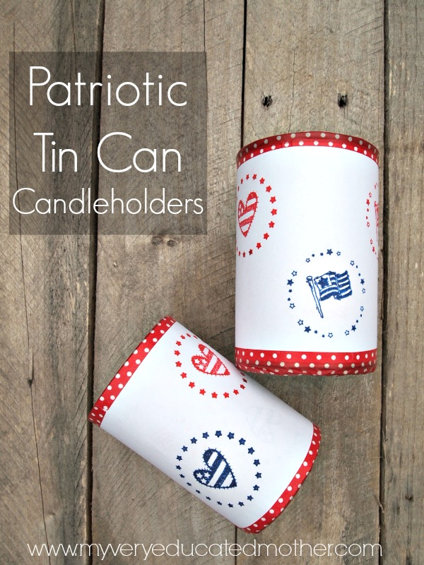 Use PSA Essentials Peel & Stick Stamper to create these tin can candleholders, perfect for an outdoor get together!