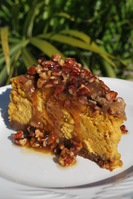 Scrumpdillyicious: Pumpkin Cheesecake with Praline Sauce