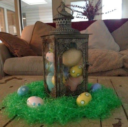 Lantern filled with Easter eggs