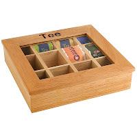 Cutie pentru ceai din lemn cu fereastra din acri