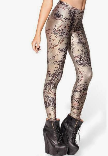 A picture of a pair of tights with a map of Middle Earth printed on them.