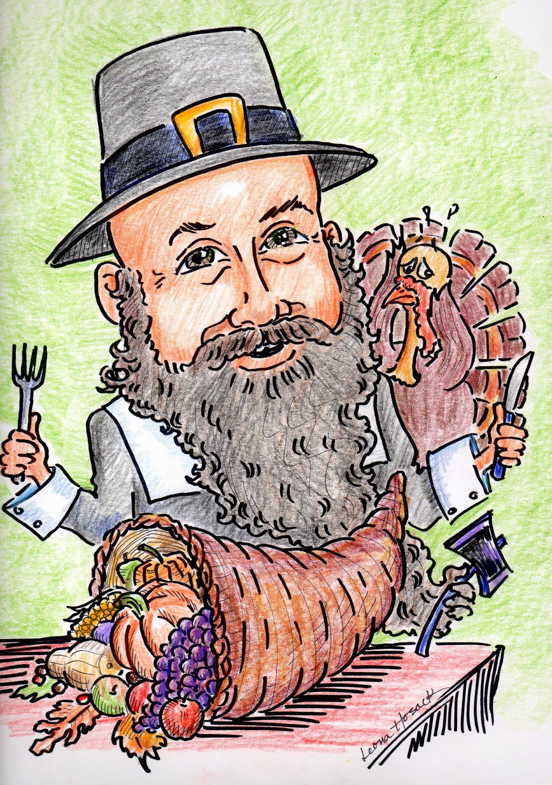 Thanksgiving, Cornucopia, turkey, dinner, pilgrim, caricature