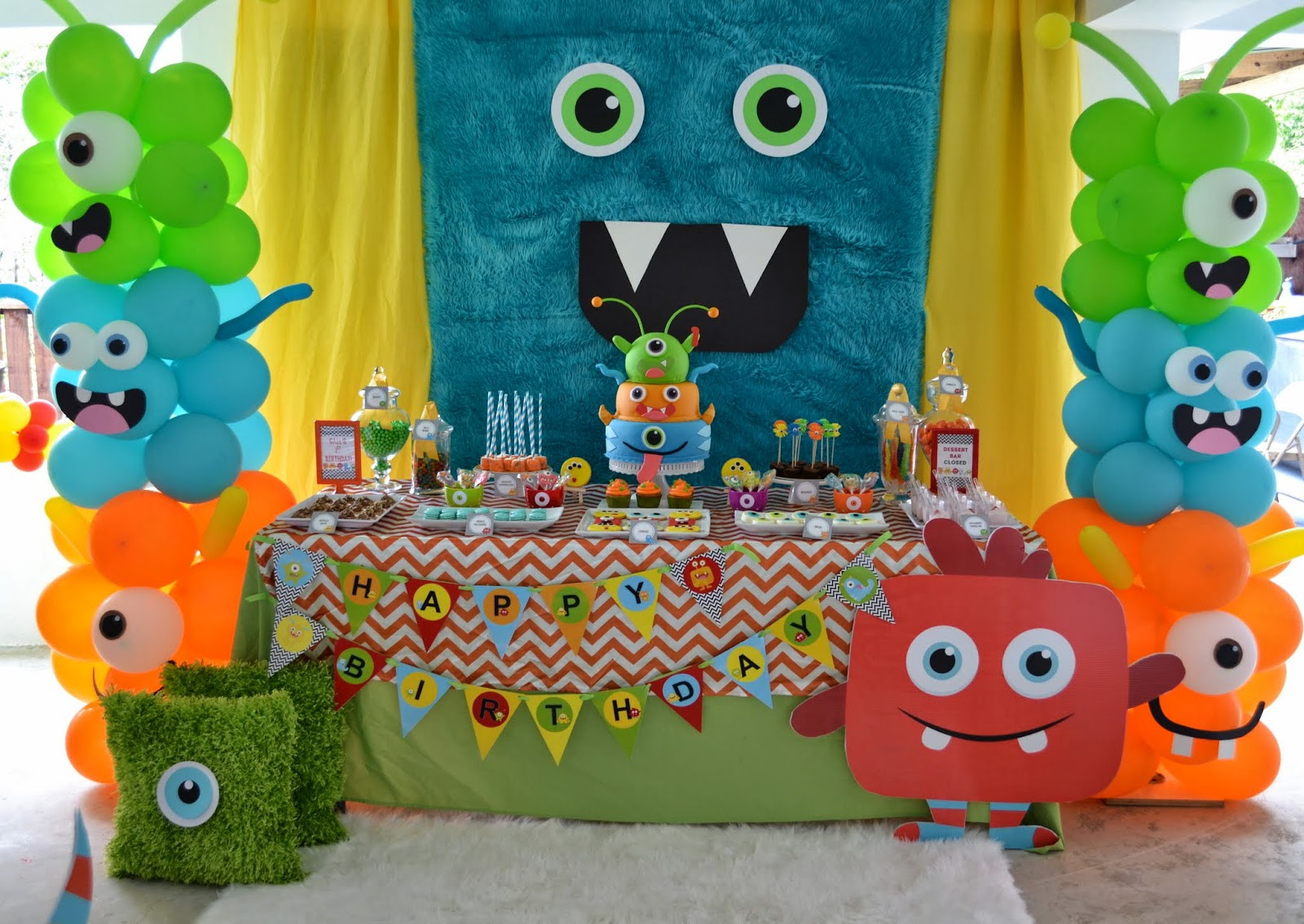 Partylicious events pr little monster birthday bash for Baby boy 1st birthday decoration ideas