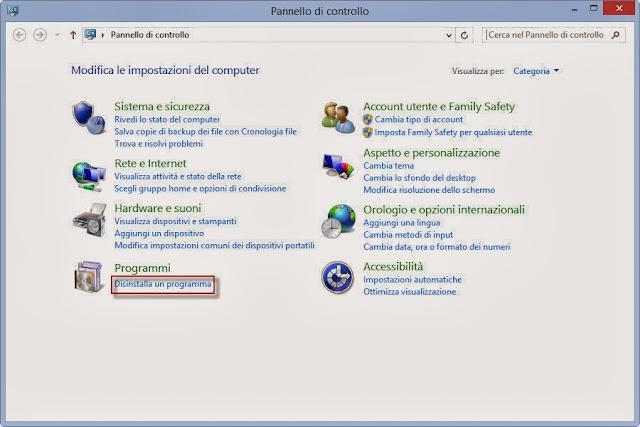 Disinstalla un programma - Pannello di controllo- Windows