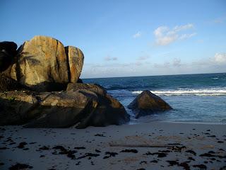 rocks on North East Point Beach, Seychelles