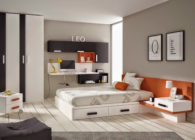 habitacion juvenil con cama de matrimonio