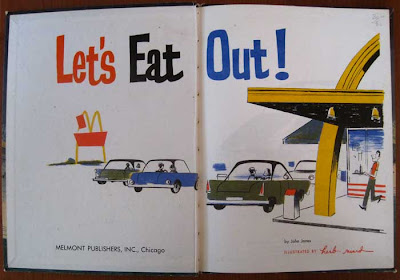Title page, with conte crayon drawing in flat color of cars outside a McDonald's