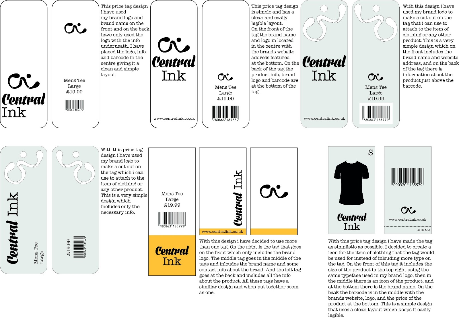 Clothing Tag Design - Development/ Final | Unit 45 - Dan Coombes