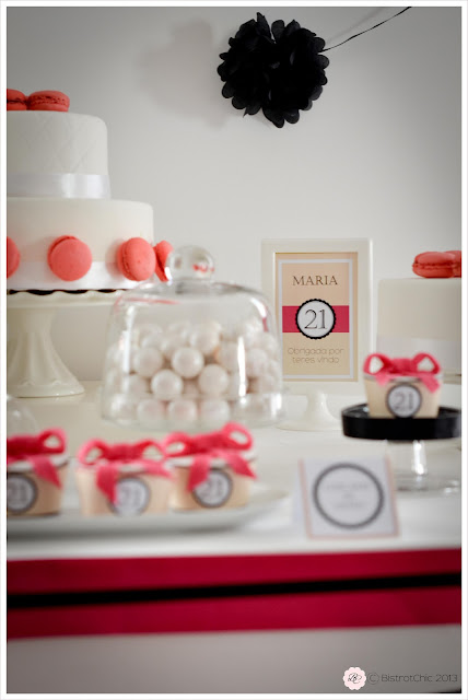 Pink and black 21 st birthday party from Bistrotchic