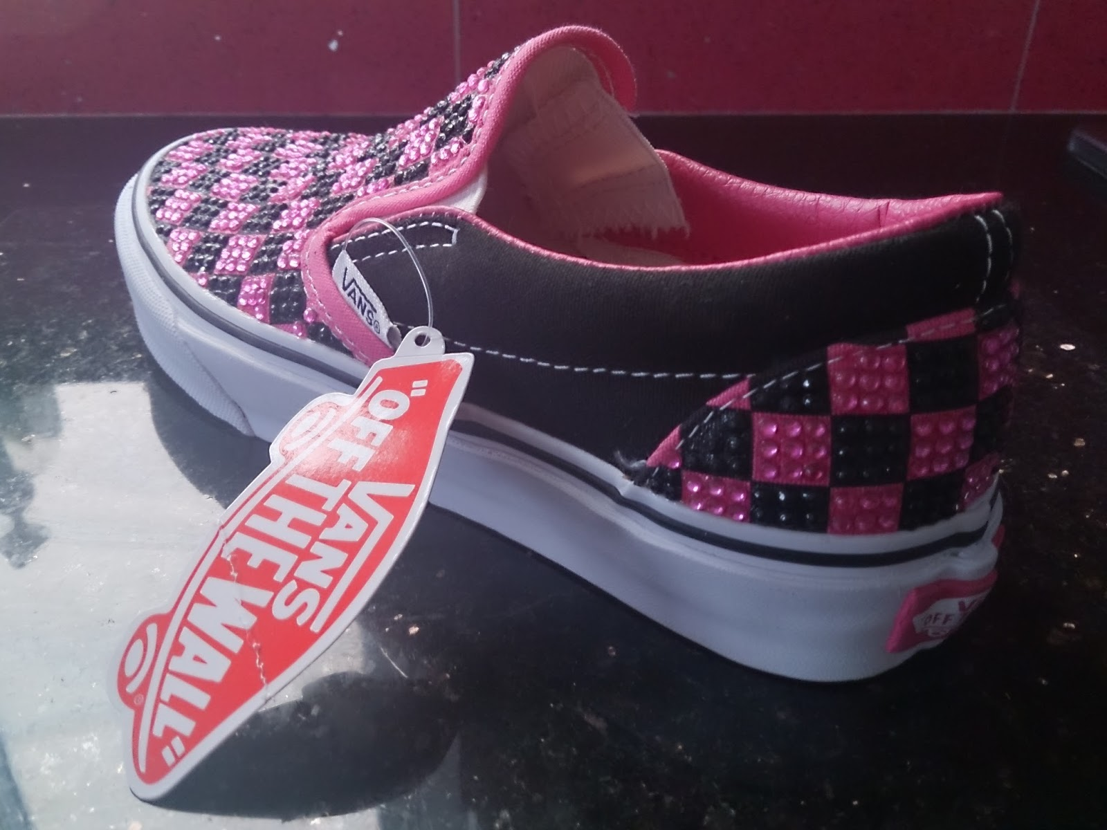 DIY Vans Off the Wall crystal rhinestone checkerboard pink and black Vans trainers shoes