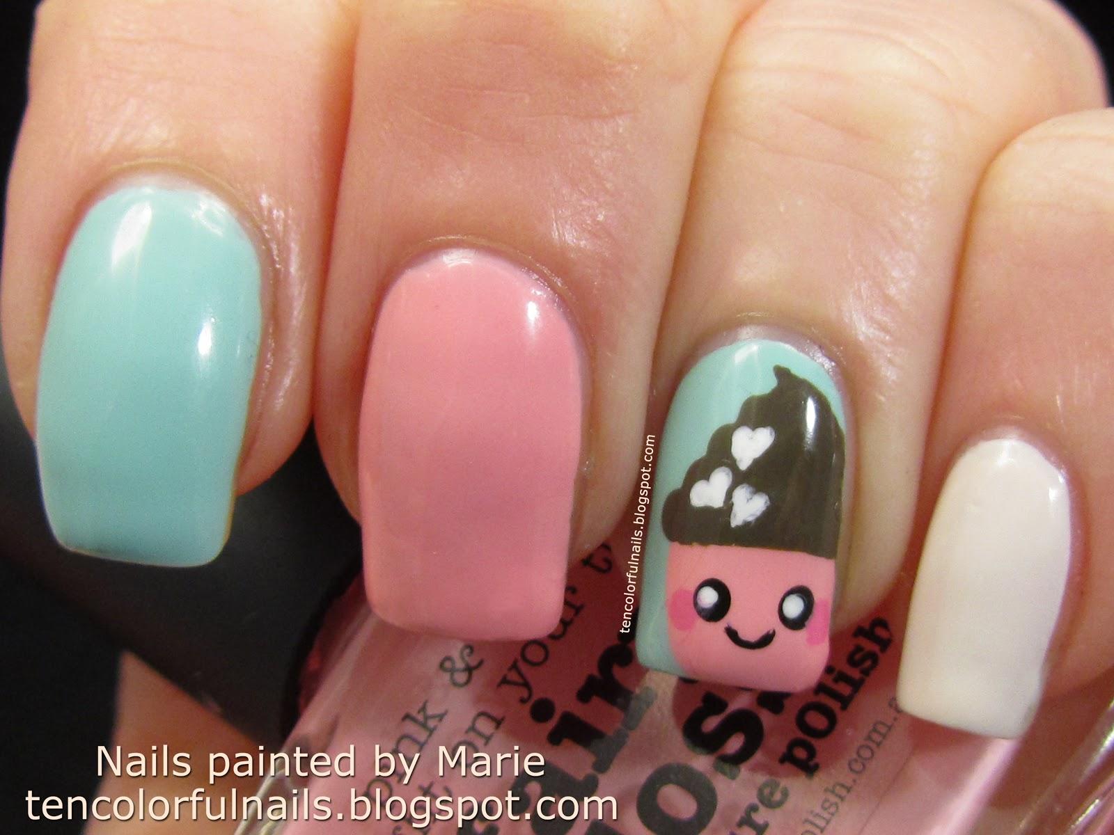 Ten Colorful Nails Kawaii Cupcake Nail Art Tutorial