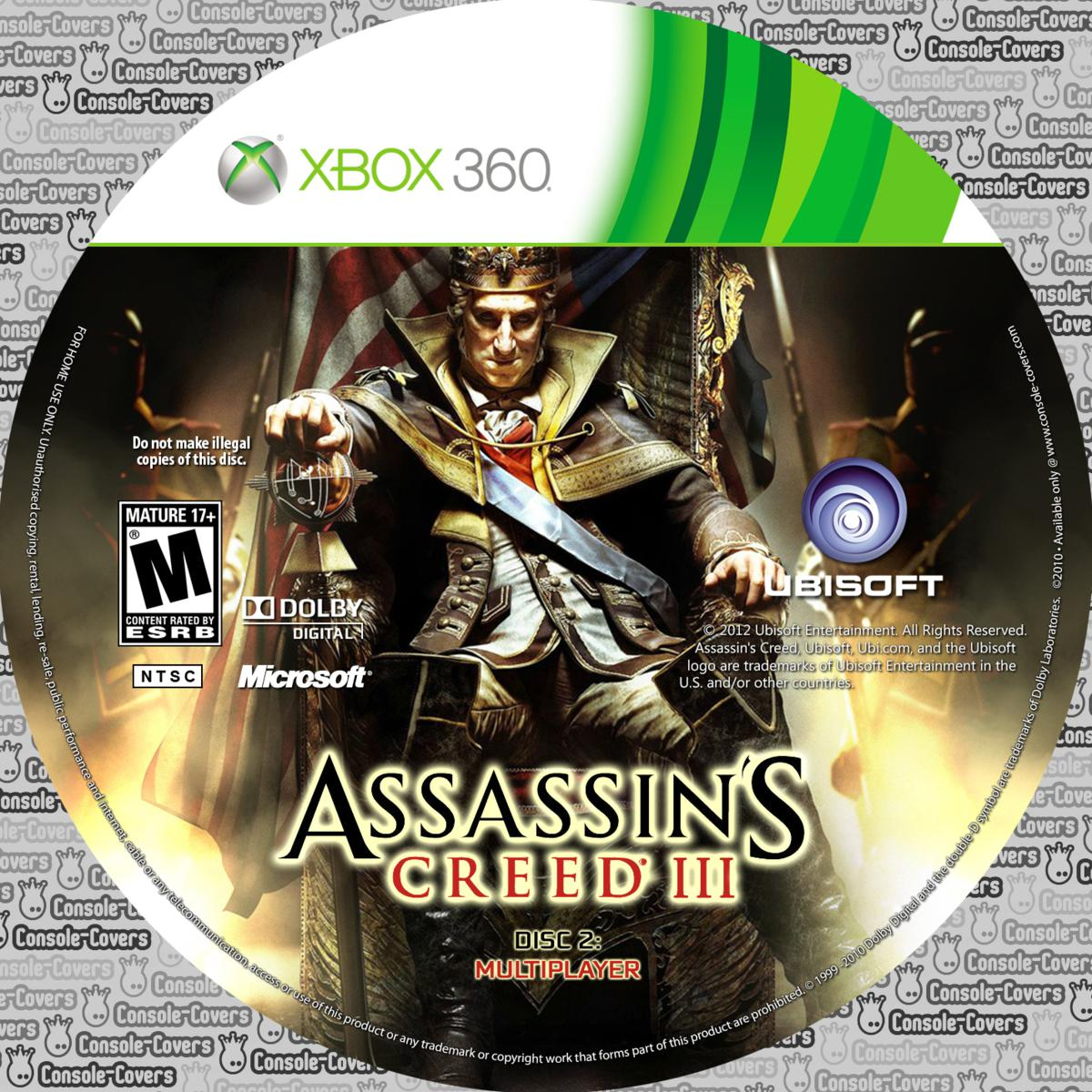 Label Assassins Creed III Disc 2 Xbox 360