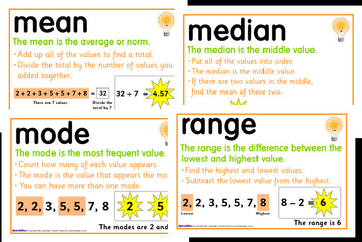 mean median mode and range Find the mean, median, & mode for the data set: {15, 12, 10, 18, 5.