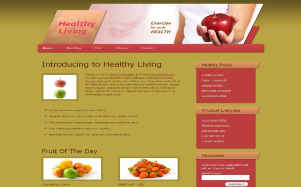 Free Diet Health Grunge HTML CSS Website Template