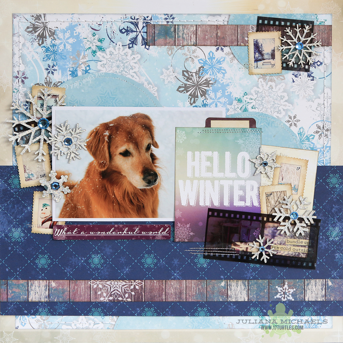 Hello Winter Pet Scrapbook Page by Juliana Michaels for BoBunny using the Altitude collection and Leaky Shed Studio Chipboard