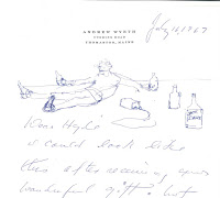 sketch of Andrew Wyeth passed out with liquor bottles