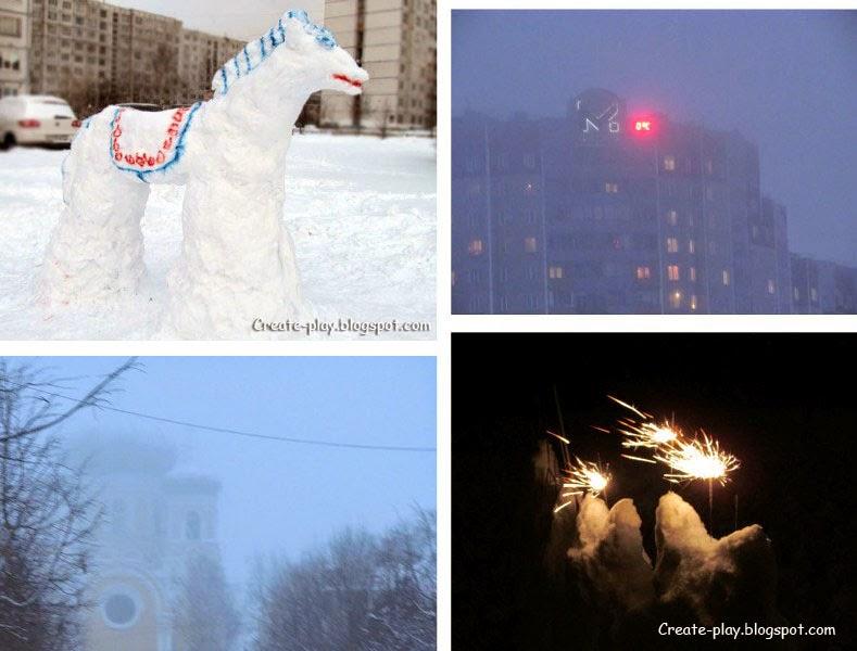 Лепим коня из снега
