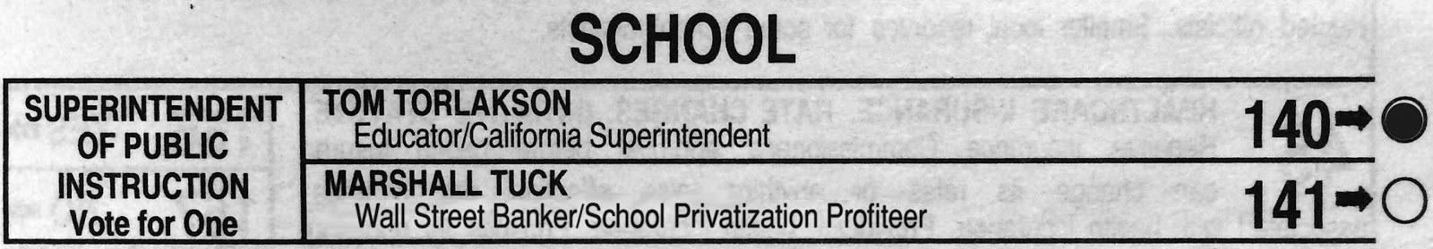 Billionaire extremists spent some $10-Million pushing banker Marshall Tuck. Resist! Vote teacher, VOTE Tom Torlakson!
