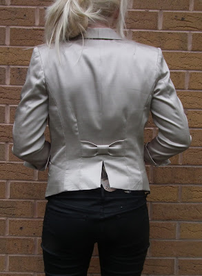 H&M silver bow jacket