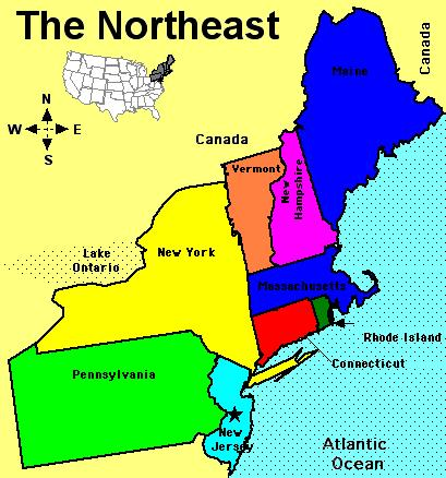 Usa Northeast Region Map With State Boundaries