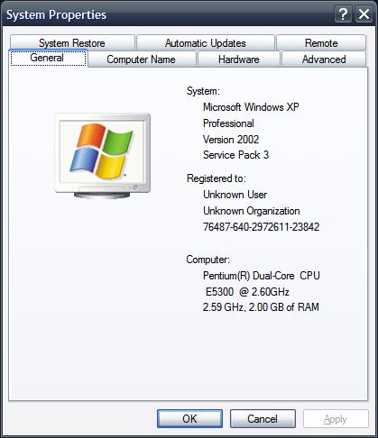 Thông số máy tính cũ