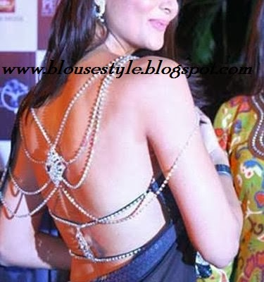 Rhinestone strap back side Bollywood blouse