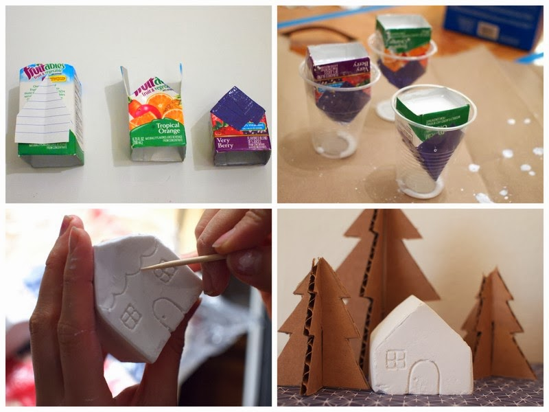 how to make mini plaster of paris christmas village - Miniature Christmas Village