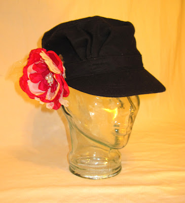 Romantic Shabby Chic Women's Cadet Hat with Hand-Made Flower Embellishment,