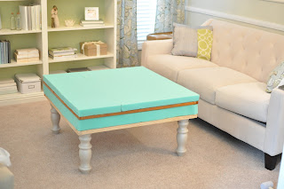 Not so newlywed mcgees diy upholstered ottoman use the adhesive to get it to stick and stay in place at the end of this step you should start to see your ottoman coming together solutioingenieria Gallery