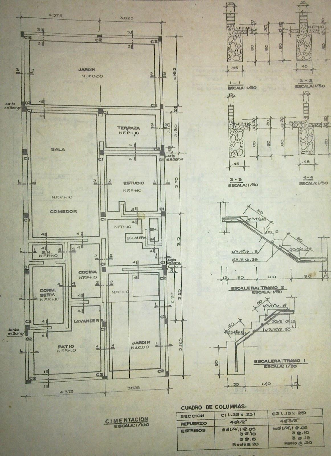 El dibujante cad plano de cimentaciones para vivienda for Planos de estructuras