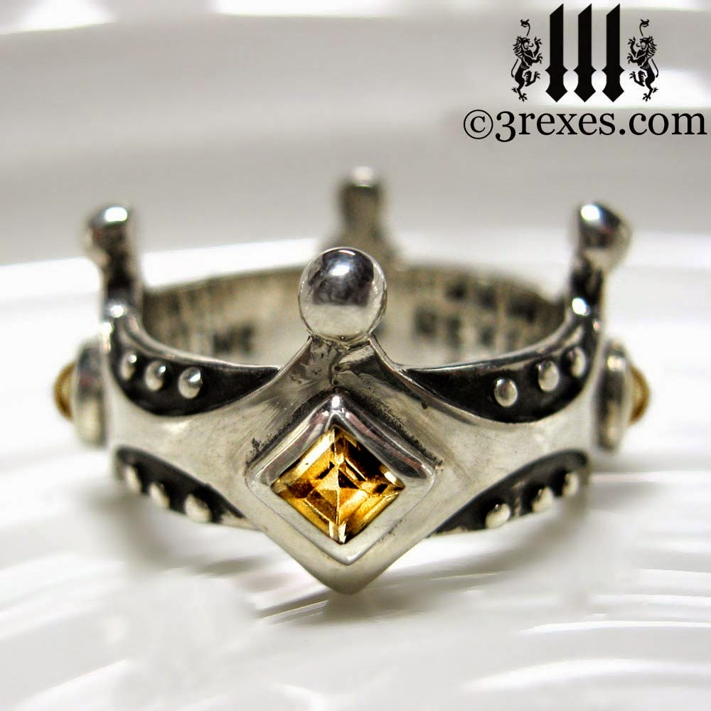 Medieval silver crown ring gothic wedding band yellow citrine
