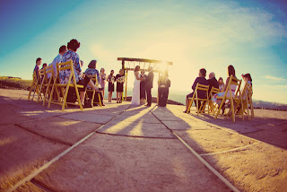 Matt and Heather's wedding ceremony on the Rooftop of Cave B/Sagecliffe