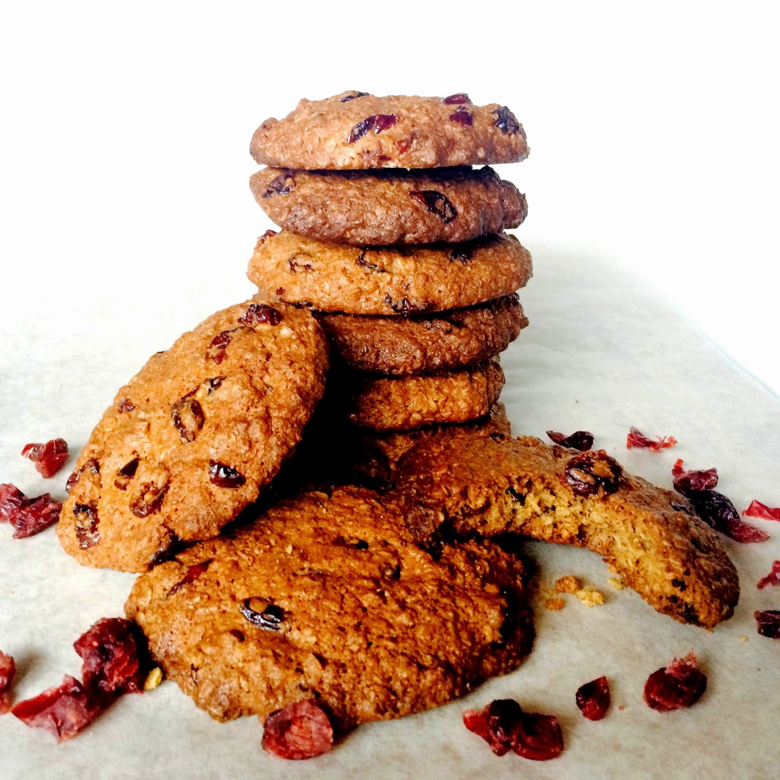 Healthy Chewy Spelt Oatmeal Cranberries Cookies Recipe