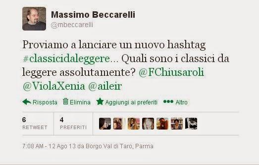 Il tweet di lancio di #classicidaleggere