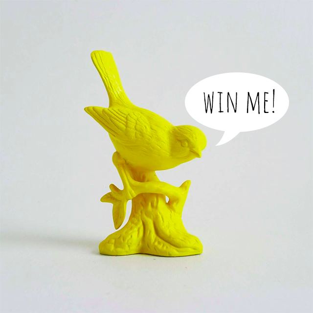 painted yellow bird saying win me!