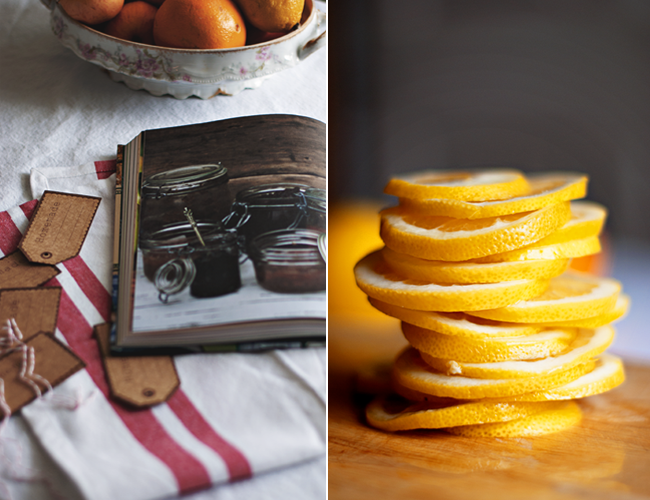 Diptych of Inside page of Irish Country Cooking: More Than 100 Recipes for Today's Table; stack of sliced lemons