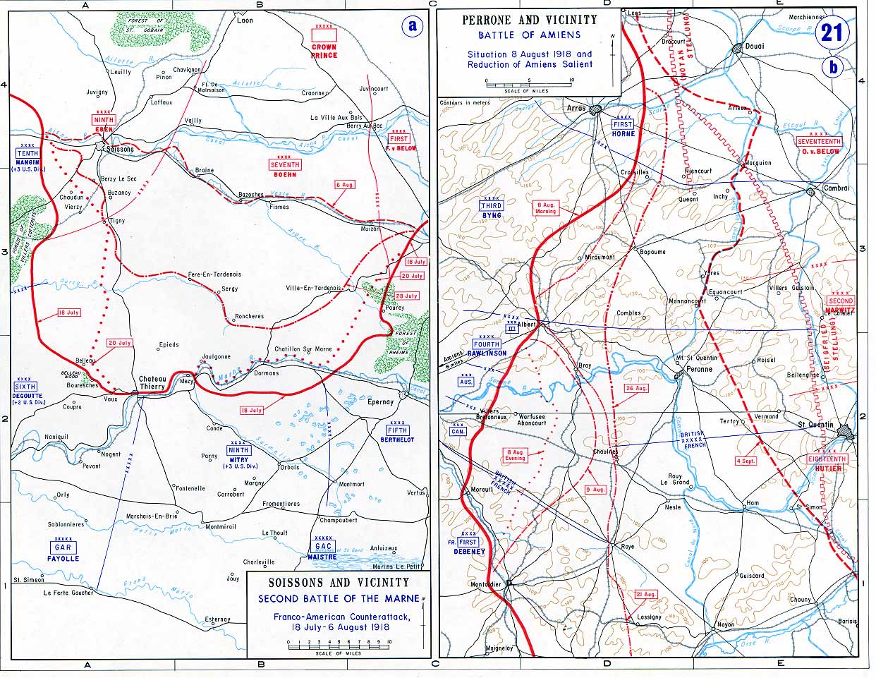 on july 18 mangin sent twenty three divisions four of them american in a heavy counter stroke designed to cut the soissons chateau thierry highway and