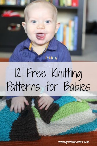 Baby sitting on knitted baby blanket with Caption 12 Free Knitting Patterns for Babies