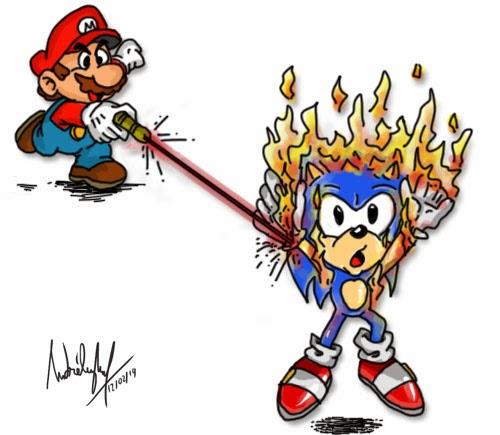 Neste desenho, agora é o Mario que está queimando o Sonic com uma caneta laser.