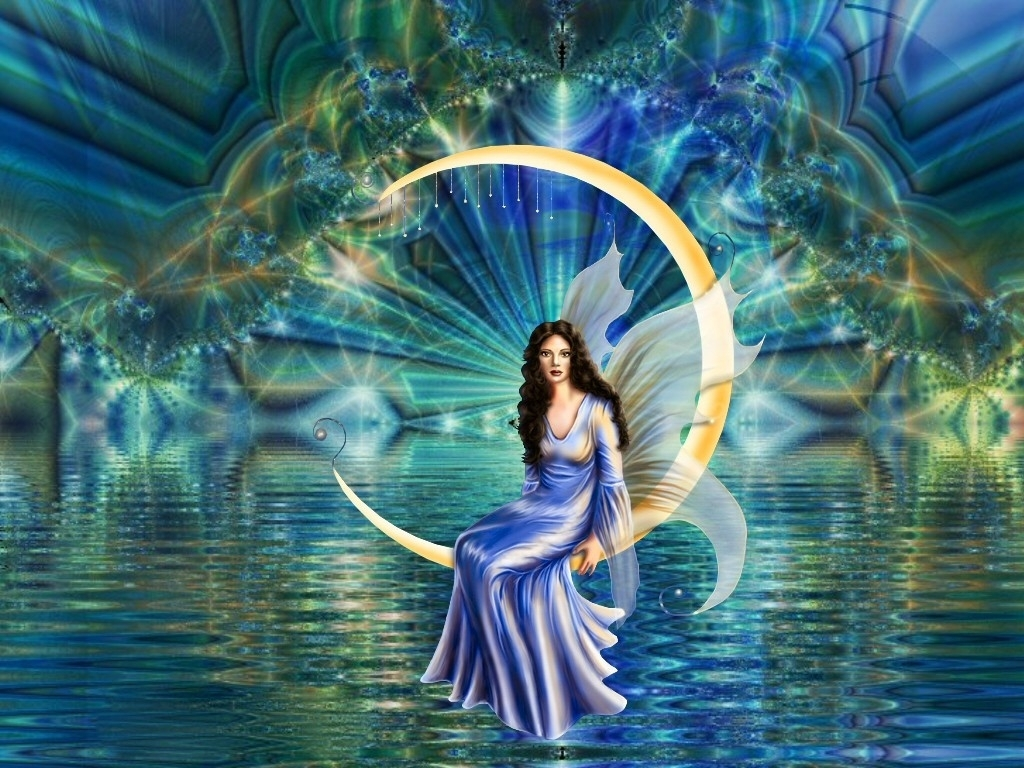 fairy on the water moon background wallpapers fairy