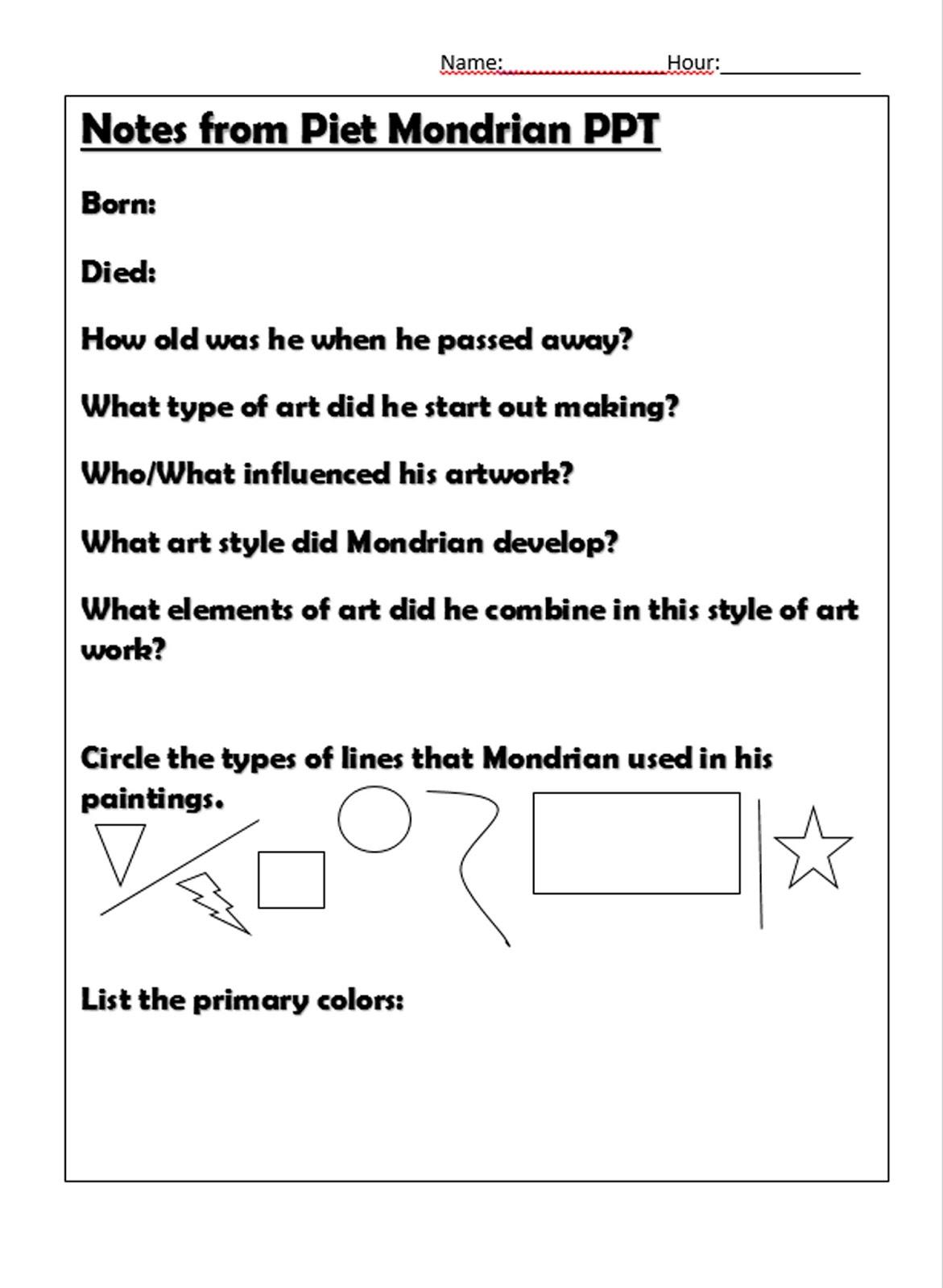 MrsH\'sArtroom: Graphic Design Peit Mondrian