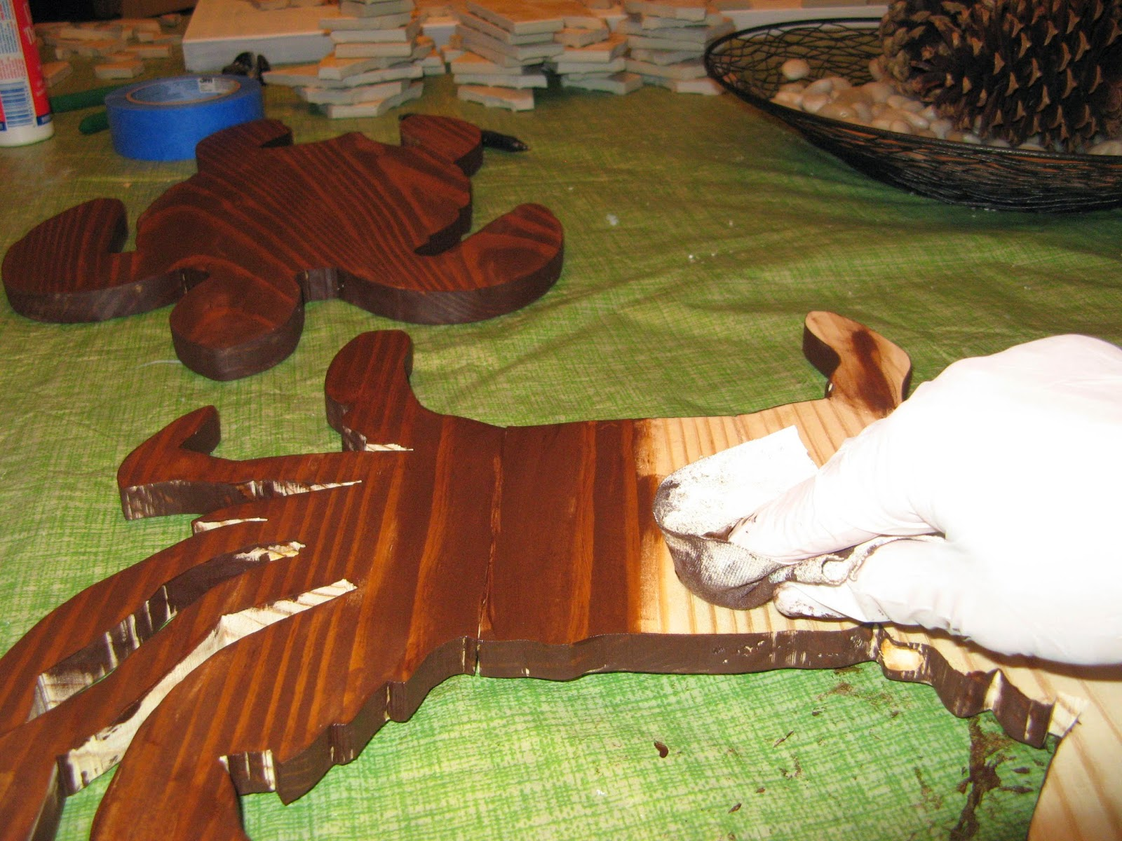 SEA CREATURE DECOR - Staining the Wood