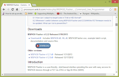 Screenshot showing MSP430 Flasher download button