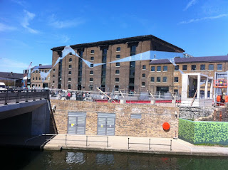Felice Varini's trompe l'oeil, Granary Square, Kings Cross, London N1