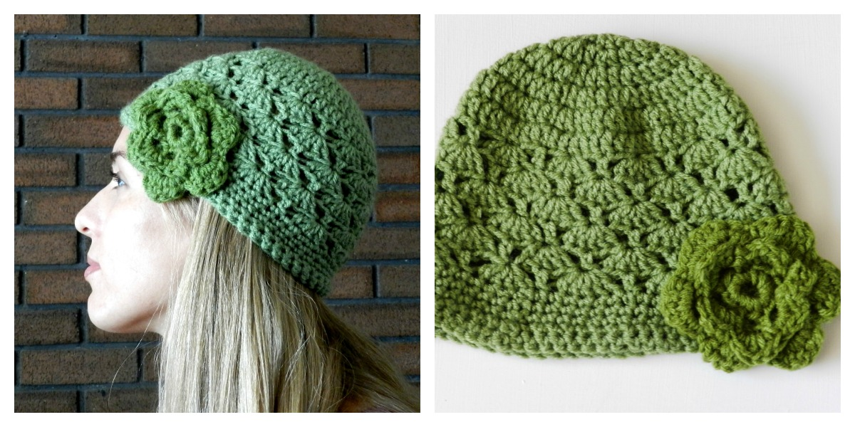 Crochet Hat Pattern Shell Stitch : Grow Creative Blog: Green Crochet Shell Hat