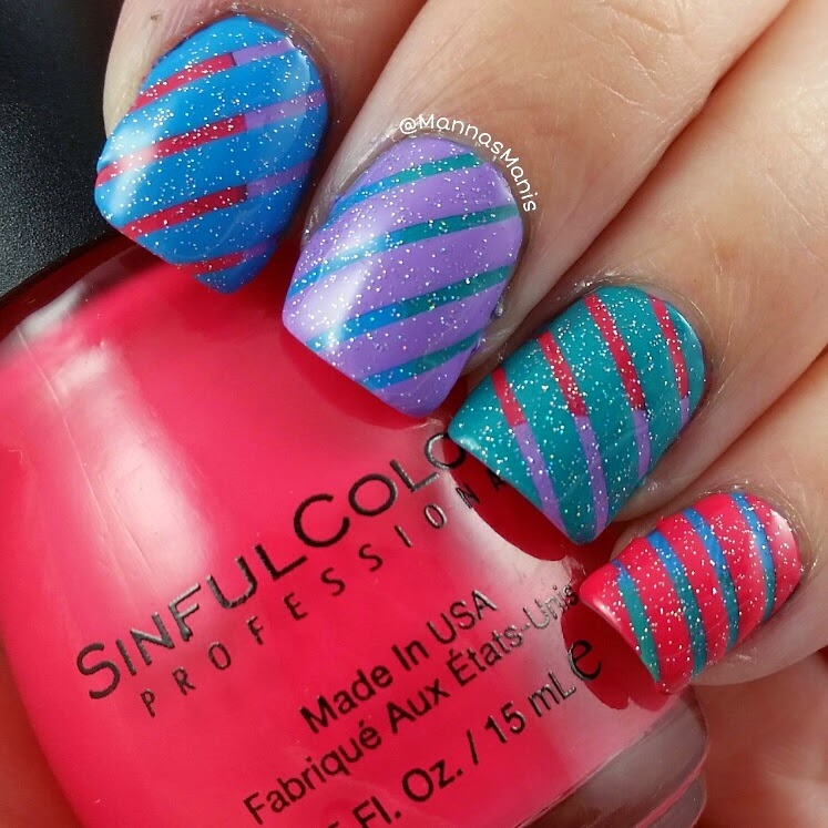 colorful stripe nail art