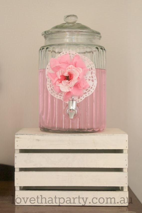 image of glass drink dispenser at girls pink birthday party