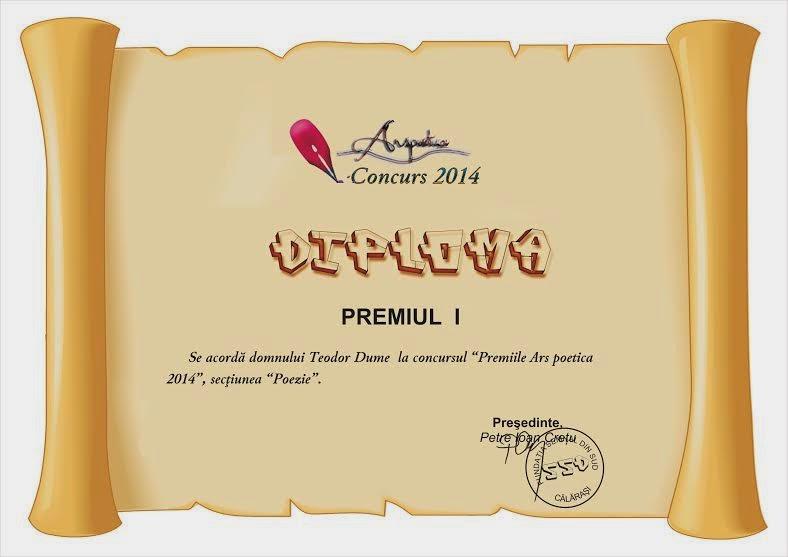 Teodor Dume: premiul I LA CONCURSUL aRS POETICA, 2014
